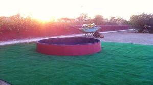 Puesta de sol desde la piscina para perros